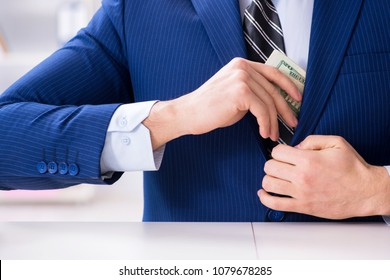 Businessman receiving his salary and bonus