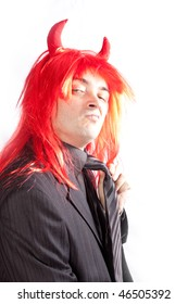 Businessman with red hair. Costume.