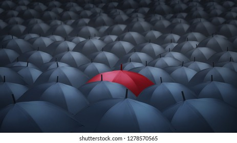 businessman with red umbrella among others, unique different concept