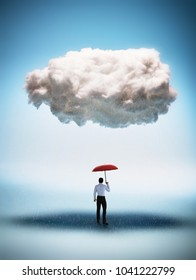 Businessman with a red umbrella standing under a big cloud. Protection and shielding against misfortune.