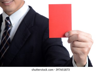 Businessman referee showing red card to stop business conflict