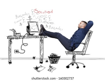 businessman relaxing with black table and pc