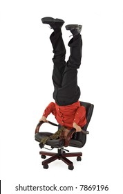 Superb Man Standing On Office Chair Stock Photos Images Pabps2019 Chair Design Images Pabps2019Com