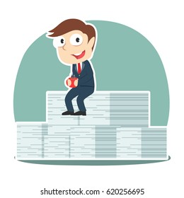 businessman relaxing on his completed task stack