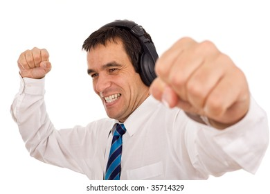 Businessman releasing stress listening to music and gesturing - isolated