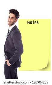 Businessman is reminding us an important note