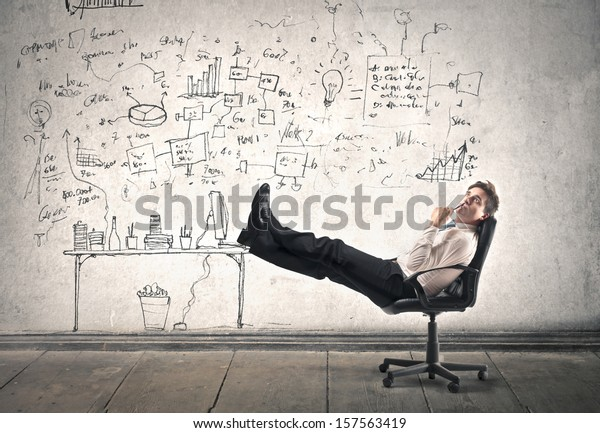 businessman is resting at work