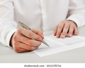Businessman reviewing papers