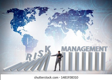 Businessman in risk management concept