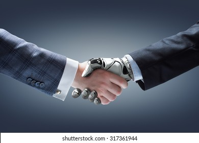 Businessman and robot's handshake on gradient background. Artificial intelligence technology