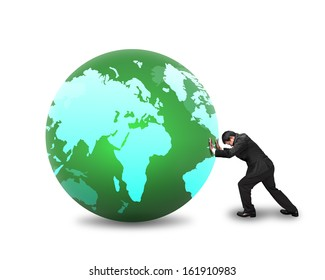 Businessman rolling large ball with world wide map on it isolated in white background