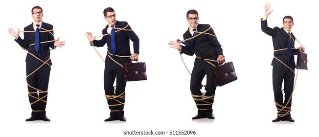 Businessman roped isolated on white background