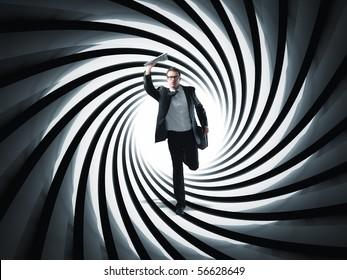 businessman run in 3d gun pipe