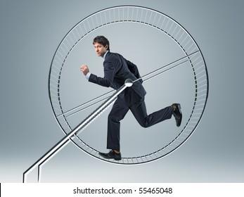 businessman run in 3d hamster wheele