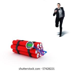 businessman run to stop 3d tnt clock bomb