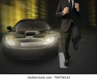 businessman running in  city street