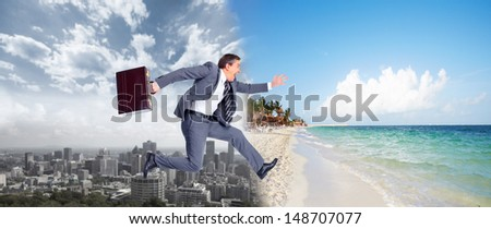 Businessman running on the beach. Summer vacation.