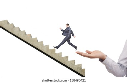 businessman running on hand manipulator boss - Symbol of the interview, the applicant, job search, business trip, start, help, begin, flying, lightness, levity, protege, protegee, insurance, belay