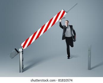 businessman running to pass the 3d bar