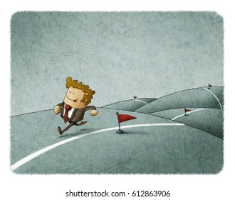 Businessman runs along a line reaching his achievements