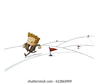 Businessman runs along a line reaching his achievements. isolated, white background.