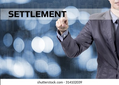 Businessman or Salaryman with Settlement text modern interface concept.