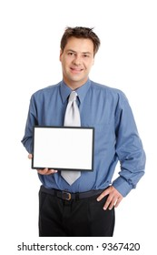 A businessman or salesman holds up a blank sign, message, advertising, or chart