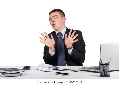 Businessman say stop isolated on white background