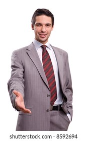 Businessman saying welcome