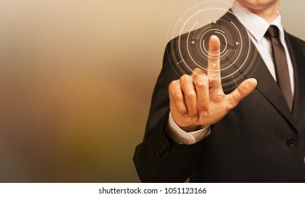 businessman scan fingerprint biometric identity