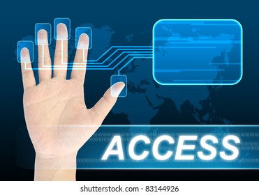 businessman scanning of a finger for access