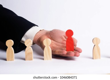 Businessman in search of new employees. Red figure. The concept of personnel selection and management within the team. Dismissal and hiring people to work. Human Resource. Headhunter