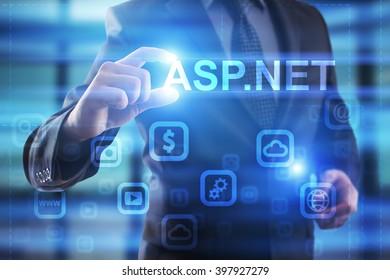 Businessman select asp.net on virtual screen. development concept.