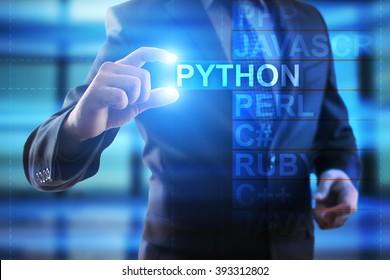 Businessman select Python.