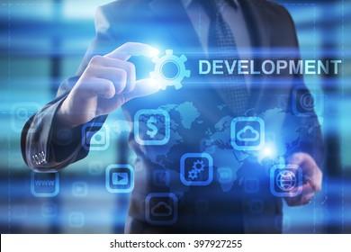 Businessman selectdevelopment  on virtual screen.