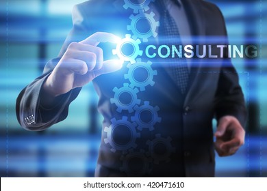 Businessman selecting Consulting.