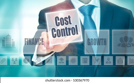 A businessman selecting a Cost Control Concept button on a clear screen.