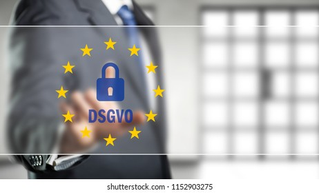 "businessman selecting an icon with many stars and the German abbreviation for ""GDPR"""