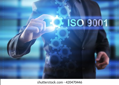Businessman selecting ISO 9001.
