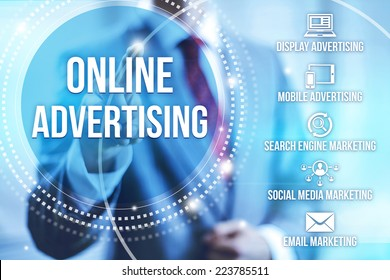 Businessman selecting online internet advertising