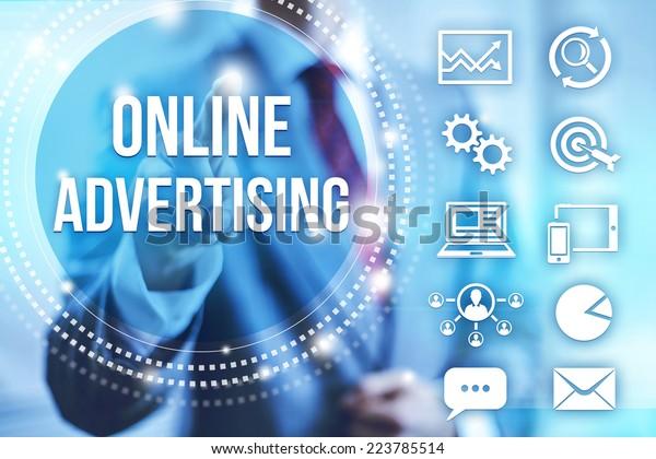 Businessman selecting online internet advertising