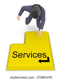 Businessman Selecting Services Representing Support Biz And Commerce