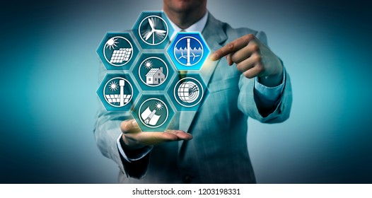 Businessman selecting tidal power generation within the mix of renewable resources. Industry concept for stream energy, electricity generation via currents caused by oceanic tides, sustainability.