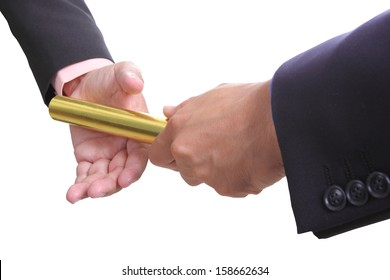 businessman send golden boton to another one