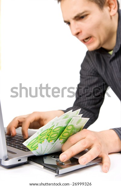 The businessman is sending the money on line, in focus the money