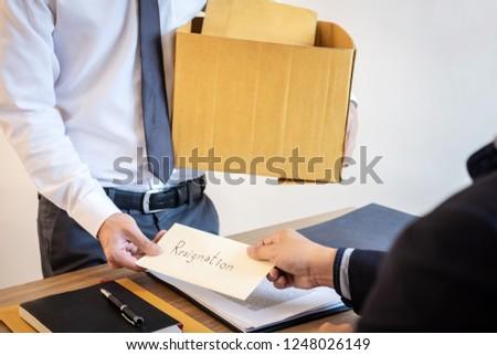 Businessman Sending Resignation Letter Employer Boss Stock Photo