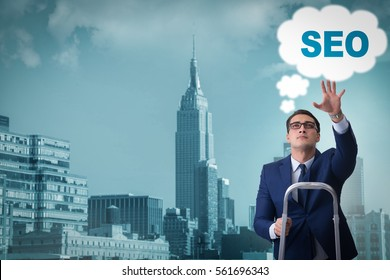 Businessman in SEO search engine optimization concept