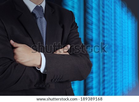 businessman  and server room background as concept