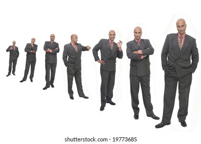 Businessman in several positions isolated against a white background