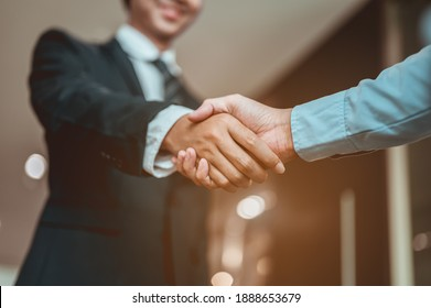 Businessman shake hands and get to know each other before they start talking about business.Bussiness,working, success concept